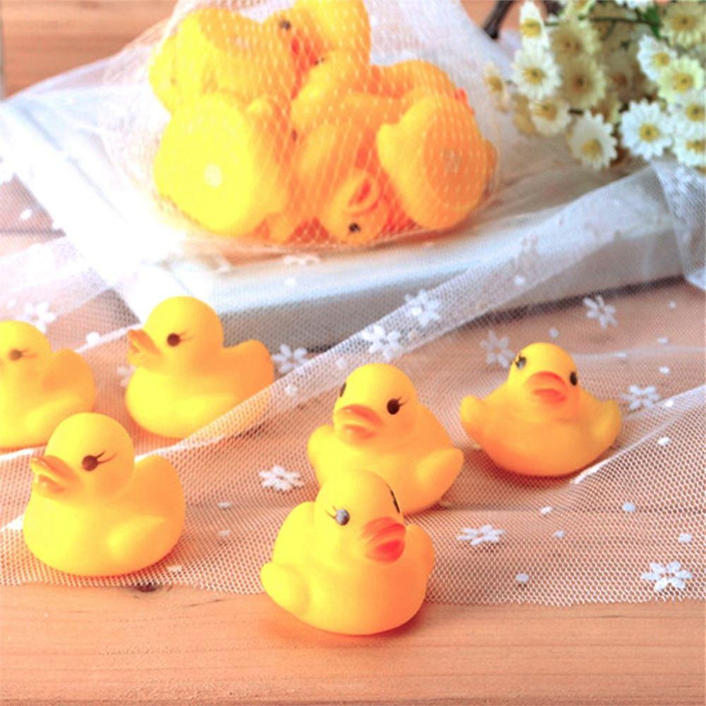 10PCS Bébi fürdő fürdőkád játékok Mini gumi csúszós úszó kacsa - sárga