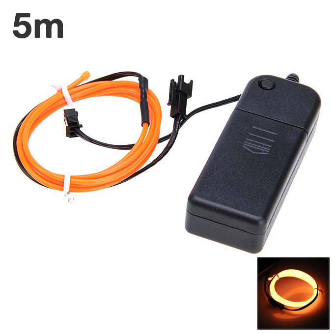 5M 10 Colours LED Гибкая лампочка 2.3MM EL с тросом и полосой света с контроллером - оранжевый