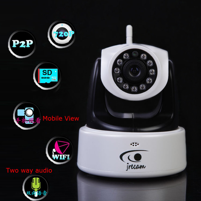 720P Mega Pixel P2P Plug and Play Two-Way Audio Security Wireless IP Camera with IR Night Vision Support Micro Card