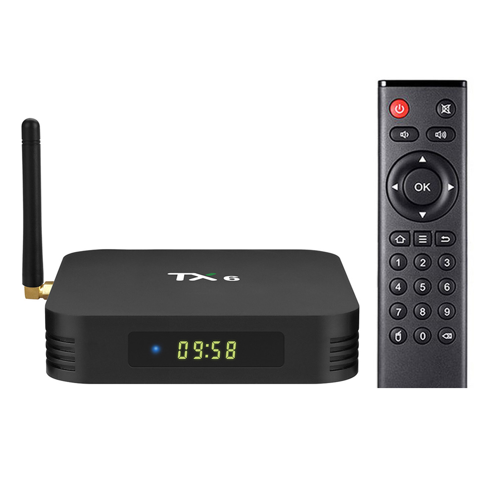 TANIX TX6 Allwinner H6 Android 9.0 4GB / 32GB 6K TV Box avec écran LED WiFi LAN USB3.0