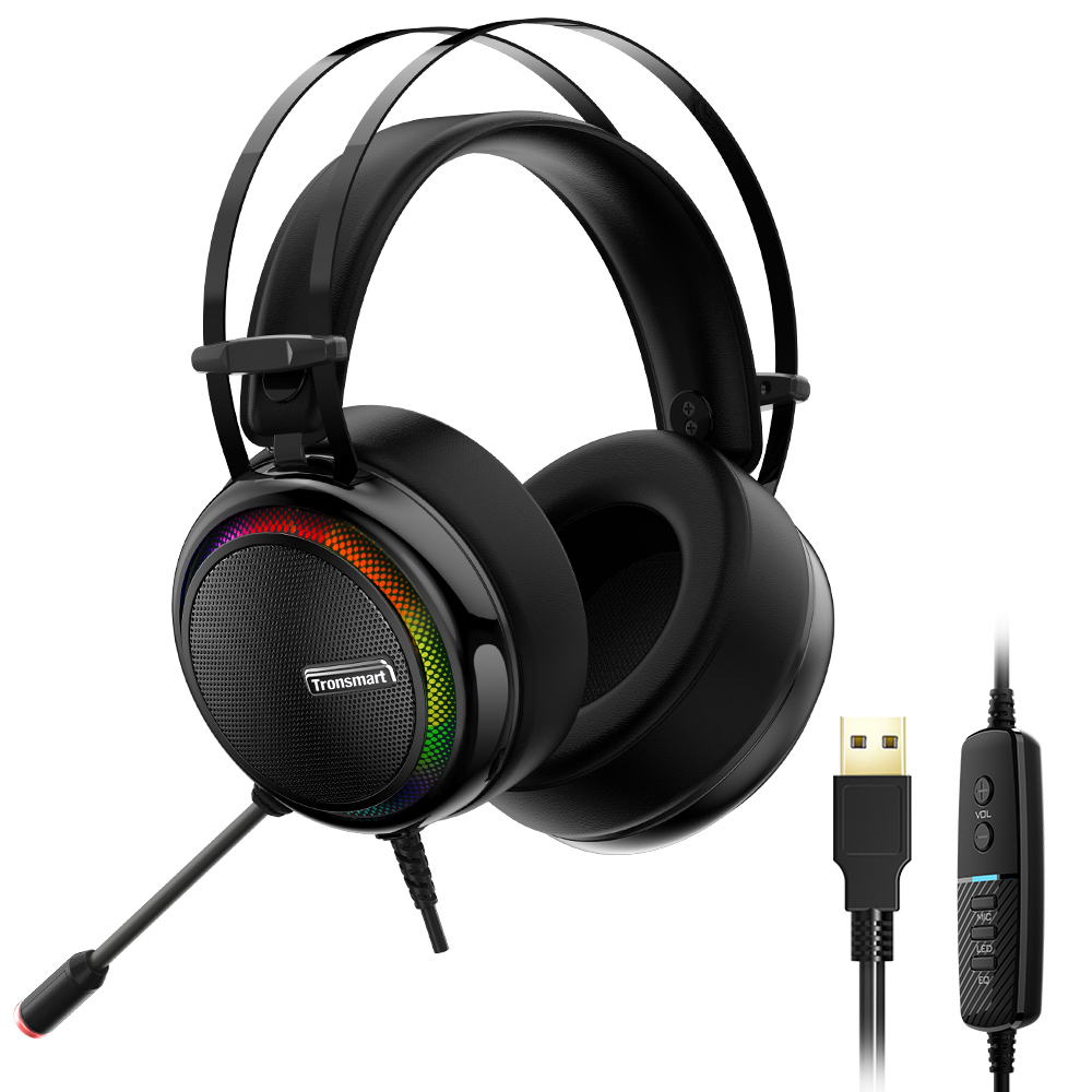 Tronsmart Glary Gaming Headset 7.1 Som Surround Virtual Som Estéreo com LED Colorido Iluminação Interface USB Mic para PC Portátil