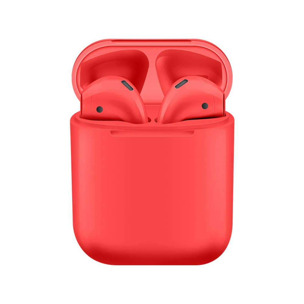 i12 TWS Bluetooth 5.0 Earbuds Tap Control Stereo Sound Standard Edition - Red