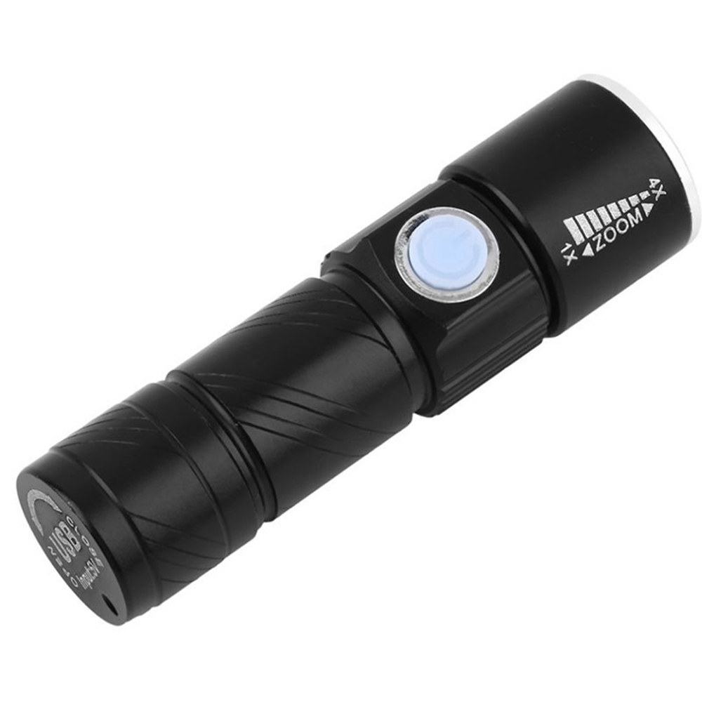LED Aluminum Flashlight for Bike USB Rechargeable Adjustable Zooming - Black