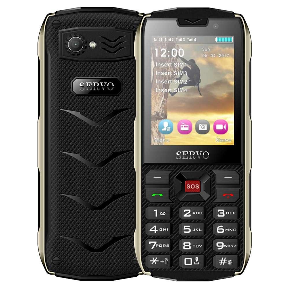 サーボH8 2.8インチ屋外携帯電話のHD画面4 SIMカード4スタンバイ3000 mAh  - ブラック