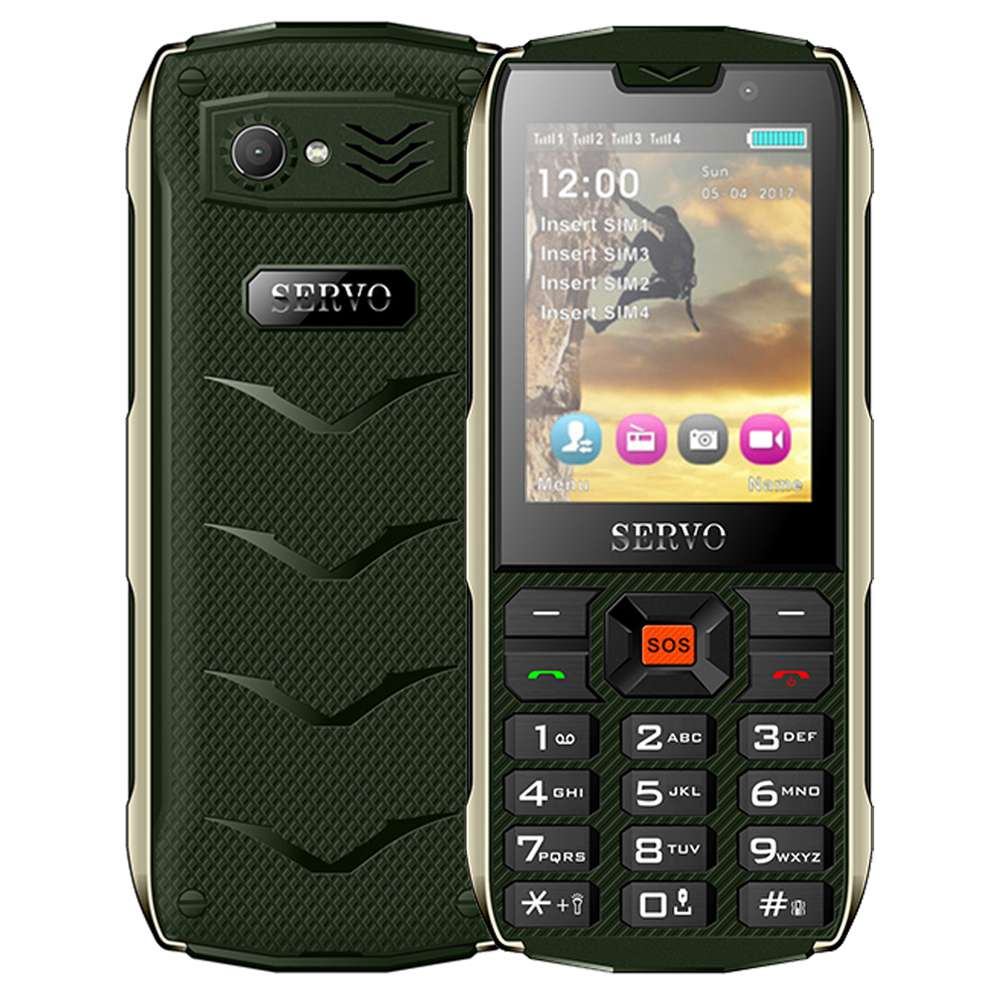 Servo H8 2.8 Inch Outdoors Mobile Phone HD Screen Four SIM Card Four Standby 3000mAh  - Green
