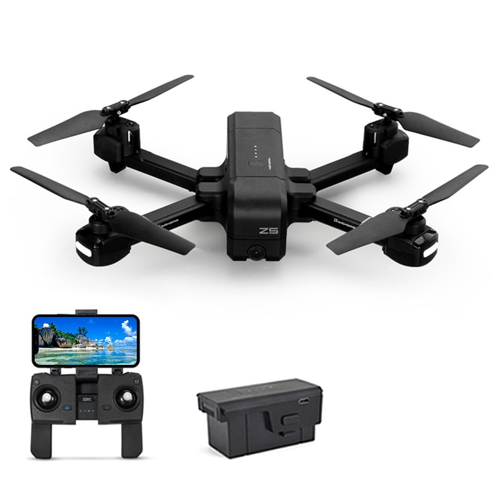 SJRC Z5 1080P FHD GPS 5G WiFi FPV Foldable RC Drone Follow Me Mode RTF أسود - بطاريتان