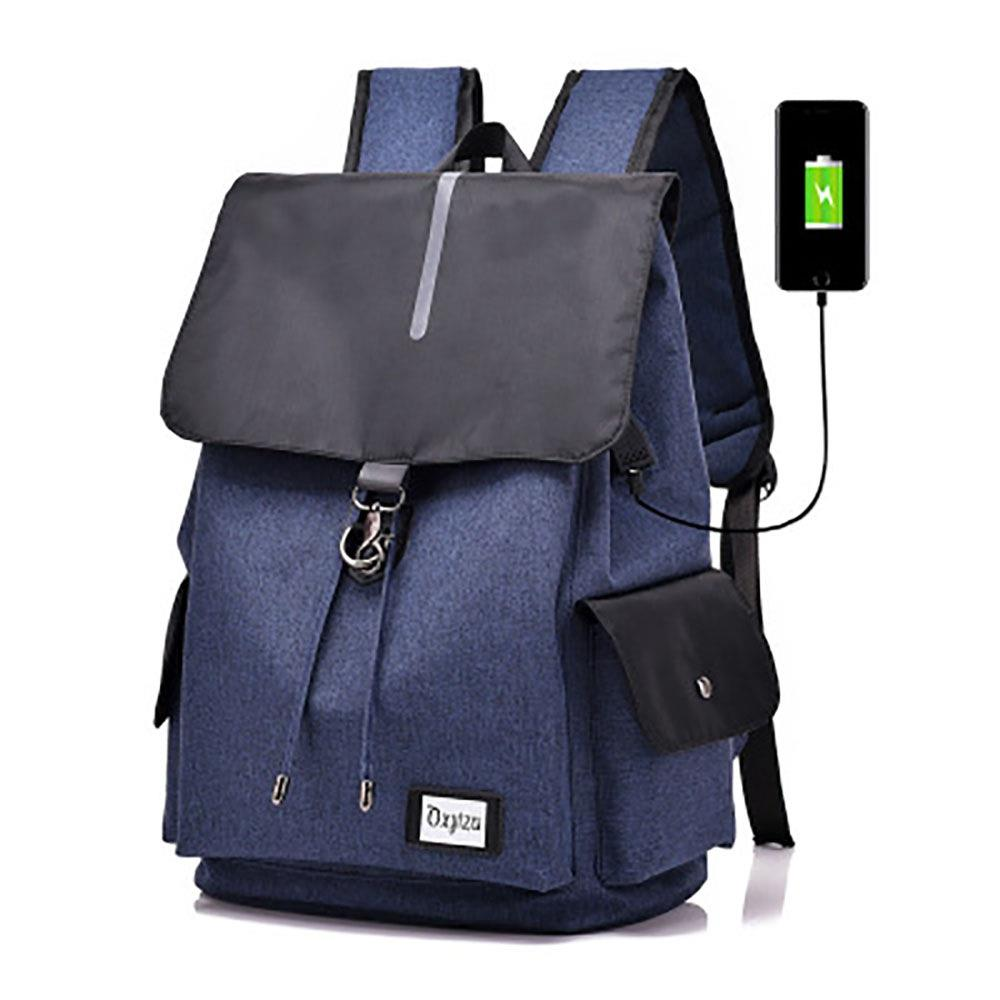 Laptop USB Backpack Large Capacity Water Resistant - Dark Blue
