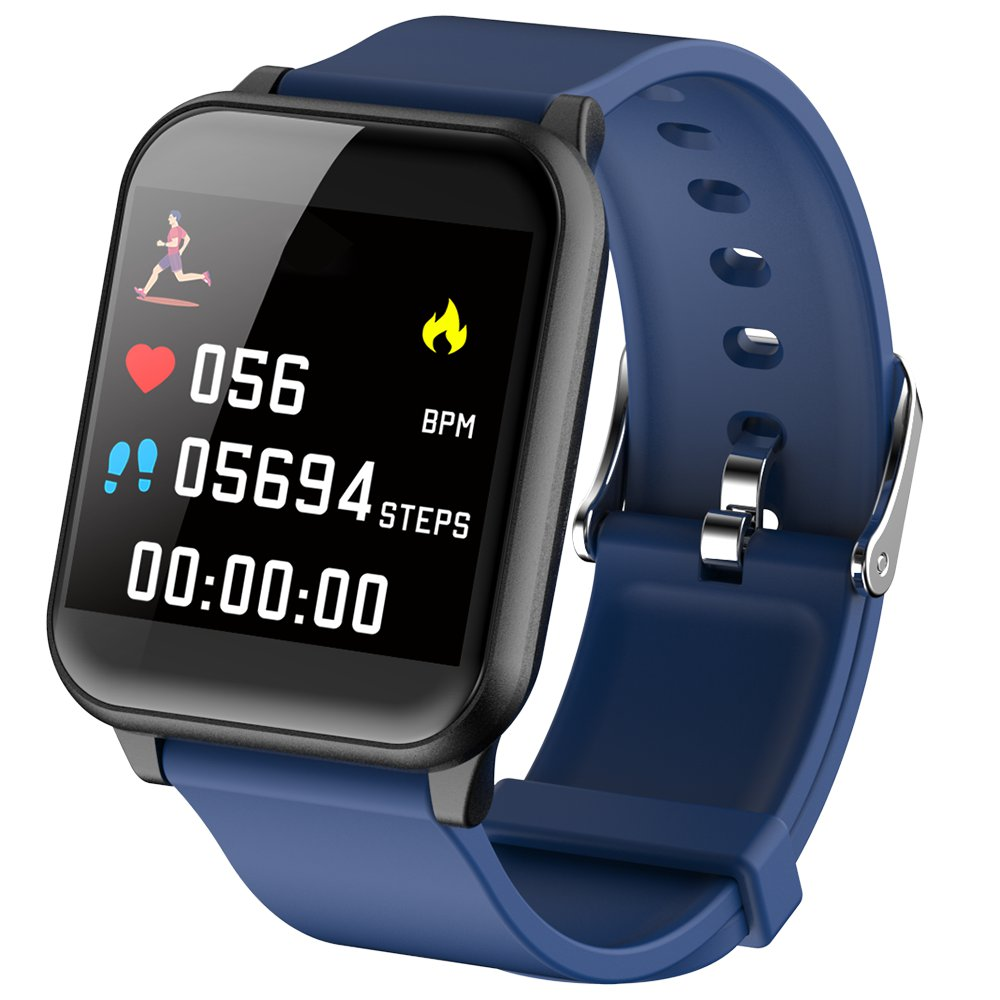 Makibes B02 Smartwatch 1.3 pollice quadrato TFT IP67 resistente all'acqua Tracker Fitness Blood Pressure Color UI Wristband - Blu