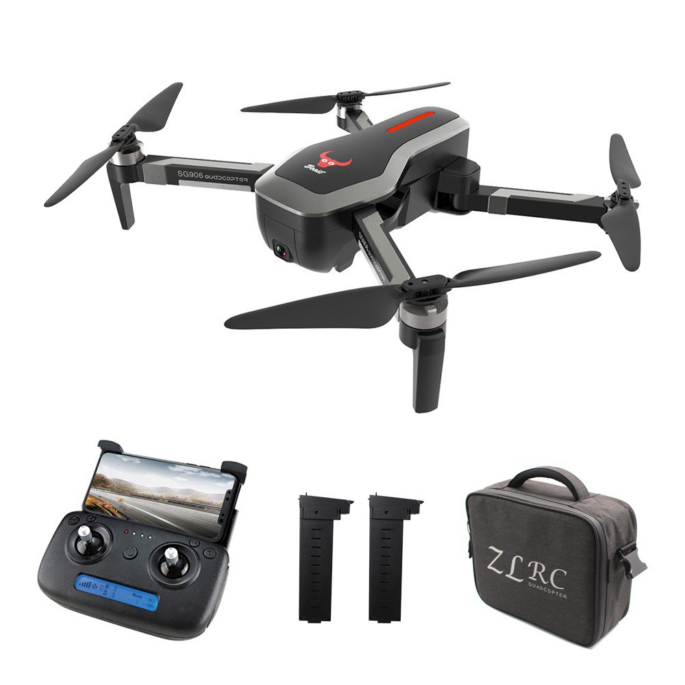 ZLRC SG906 Beast 4K Dual GPS 5G WiFi FPV Foldable RC Drone Optical Flow Positioning RTF Black - Three Batteries with Bag