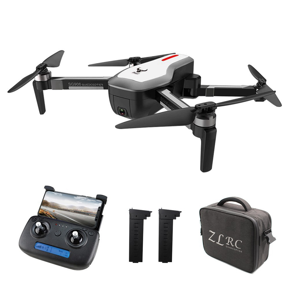 ZLRC SG906 Beast 4K Dual GPS 5G WiFi FPV Foldable RC Drone Optical Flow Positioning RTF White - Three Batteries with Bag