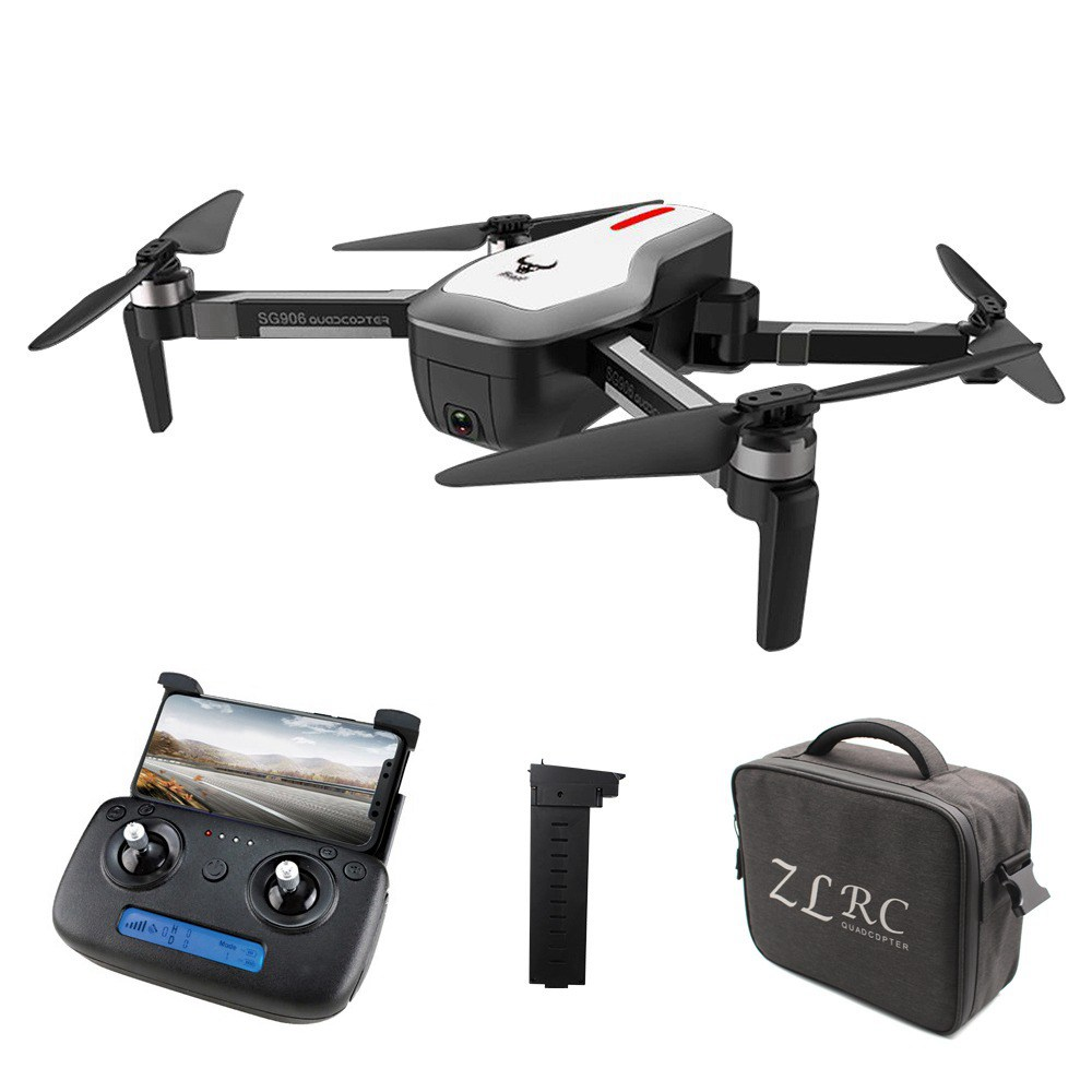ZLRC SG906 Beast 4K Dual GPS 5G WiFi FPV Foldable RC Drone Optical Flow Positioning RTF White - Two Batteries with Bag
