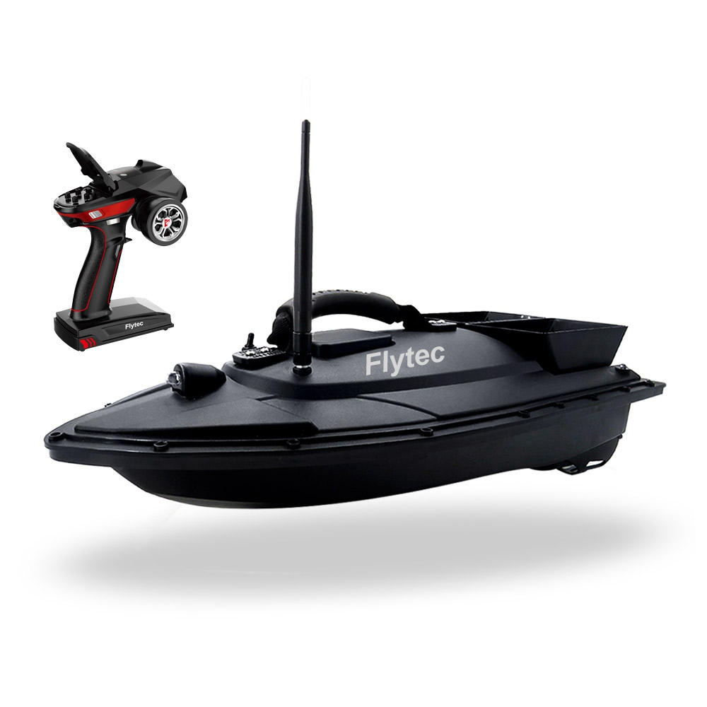 Flytec V500 500m Remote Distance Fishing Bait doppio motore 5.4km / h Fish Finder RC Boat RTR - Nero