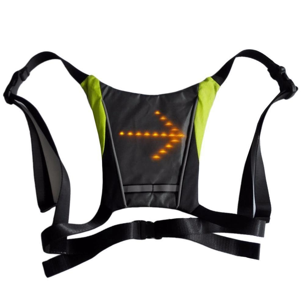 LED Wireless Turn Signal Light Reflective Vest For Cycling Sport Outdoor - Gray