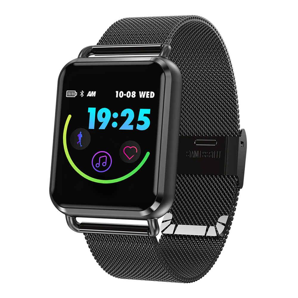 Makibes C5 Smartwatch 1.3 - Écran couleur tactile Pression artérielle - Cardiofréquencemètre Moniteur de fréquence cardiaque Bracelet en acier inoxydable résistant à l'eau IP67 - Noir