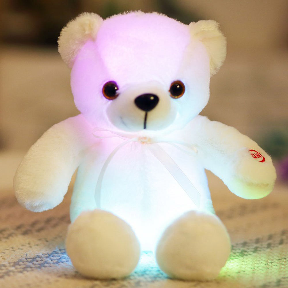 Creative Light Up LED Bear Stuffed Animals Plush Toy Colorful 30cm - White