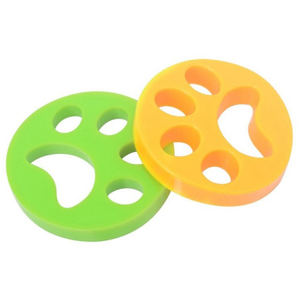2Pcs Removedor de pelo para mascotas para la piel de gato de lavandería para perros - Naranja + Verde