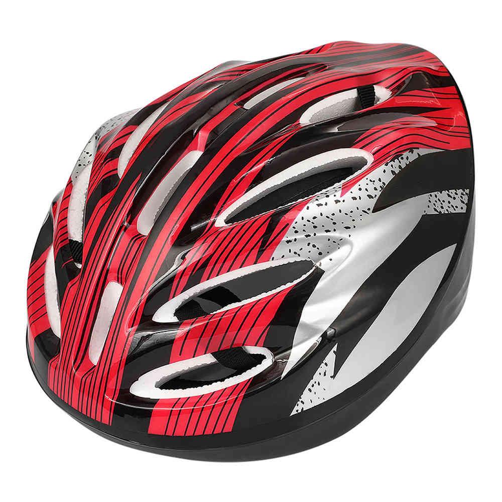 Equipamento de capacete de ciclismo de bicicleta de segurança de esportes ajustável - vermelho