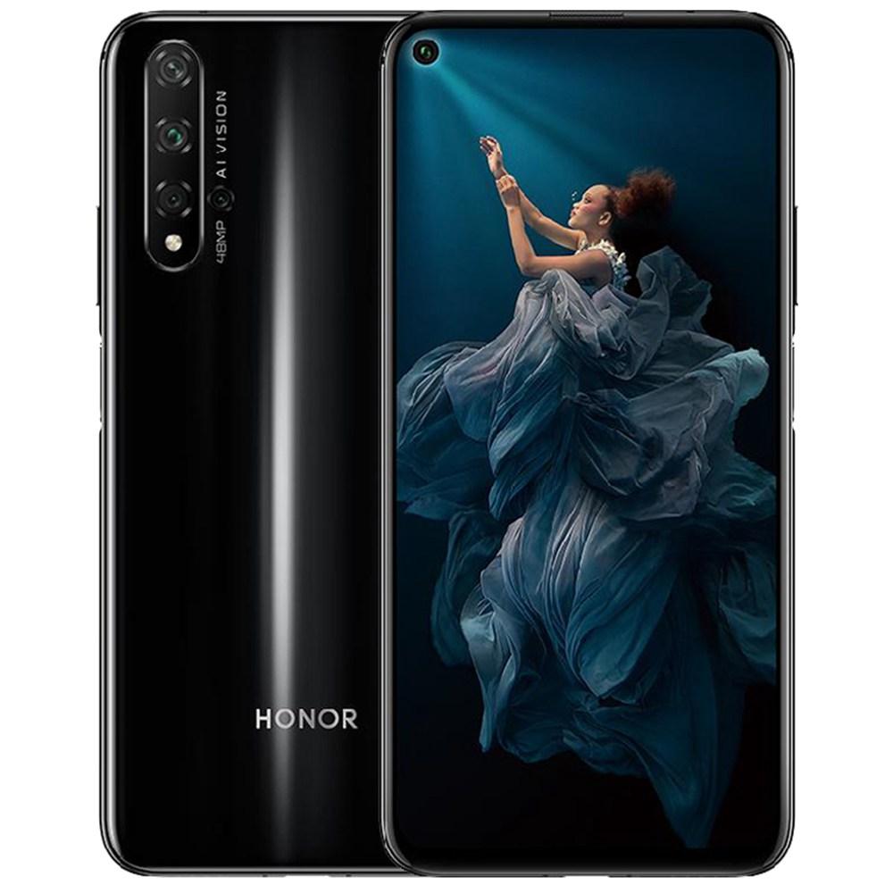 HUAWEI Honor 20 CNバージョン6.26インチ4G LTEスマートフォンKirin 980 8GB 256GB 48.0MP + 16.0MP + 2.0MPトリプルリアカメラAndroid 9高速充電サイドマウントフィンガープリント-ブラック