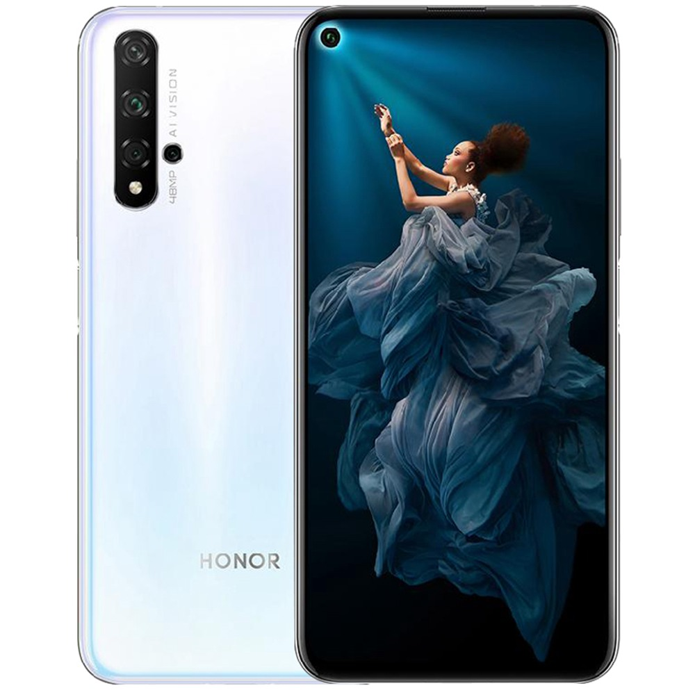 HUAWEI Honor 20 CN Version 6.26 Inch 4G LTE Smartphone Kirin 980 8GB 256GB 48.0MP + 16.0MP + 2.0MP Triple Rear Cameras Android 9 Fast Charging Side-mounted Fingerprint - White