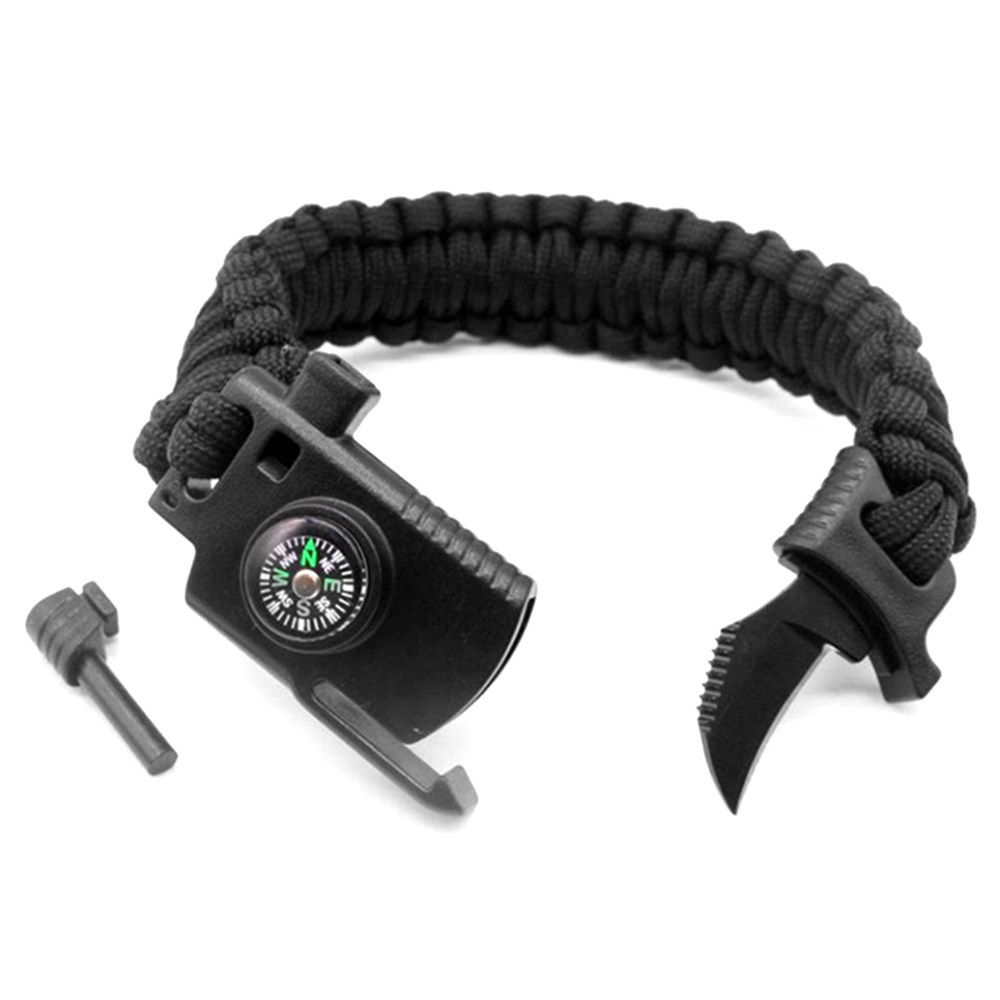 Multifunktionales Überlebens-Armband Flint Rope Whistle Compass Scraper Emergency Tool-Black
