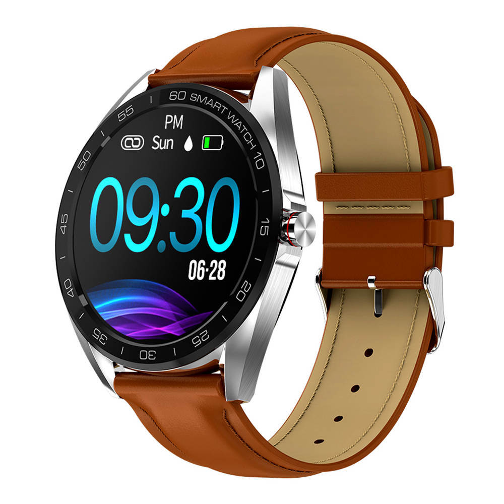 K7 Smart Watch 1.3 Inch IPS Screen IP68 Heart Rate Blood Pressure Multi Sports Modes Leather Strap - Brown