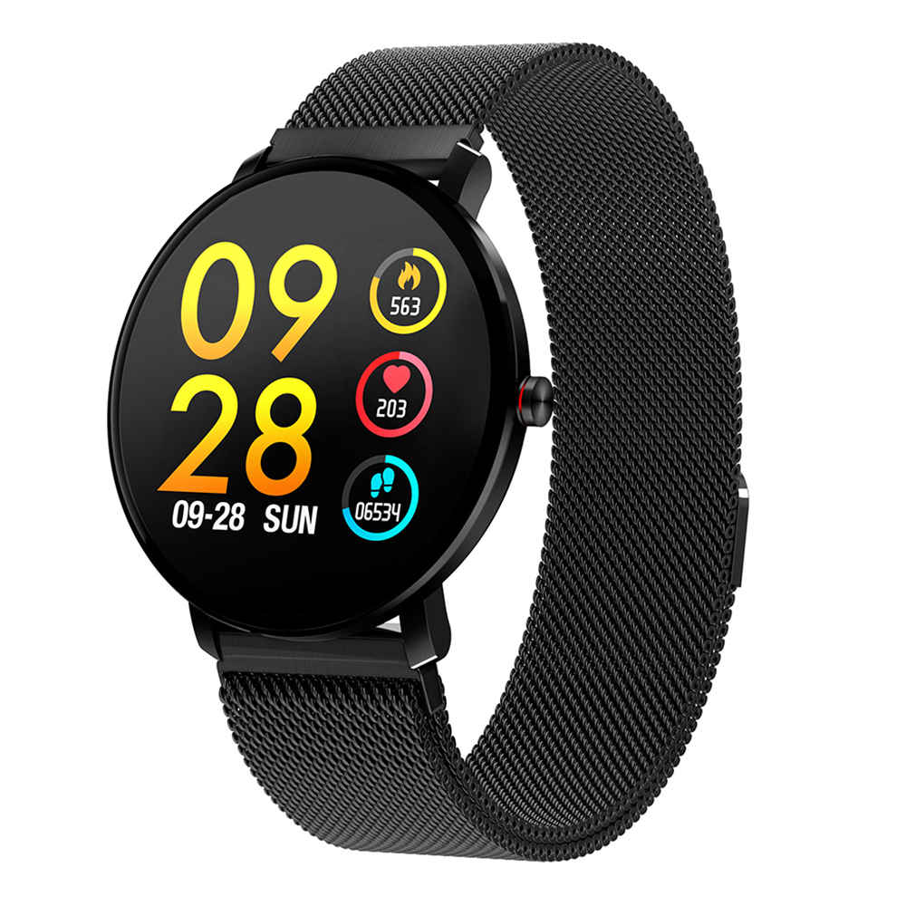 Makibes K9 ساعة ذكية 1.3 Inch IPS شاشة معدل ضربات القلب ومراقبة ضغط الدم IP68 Fitness Tracker - أسود
