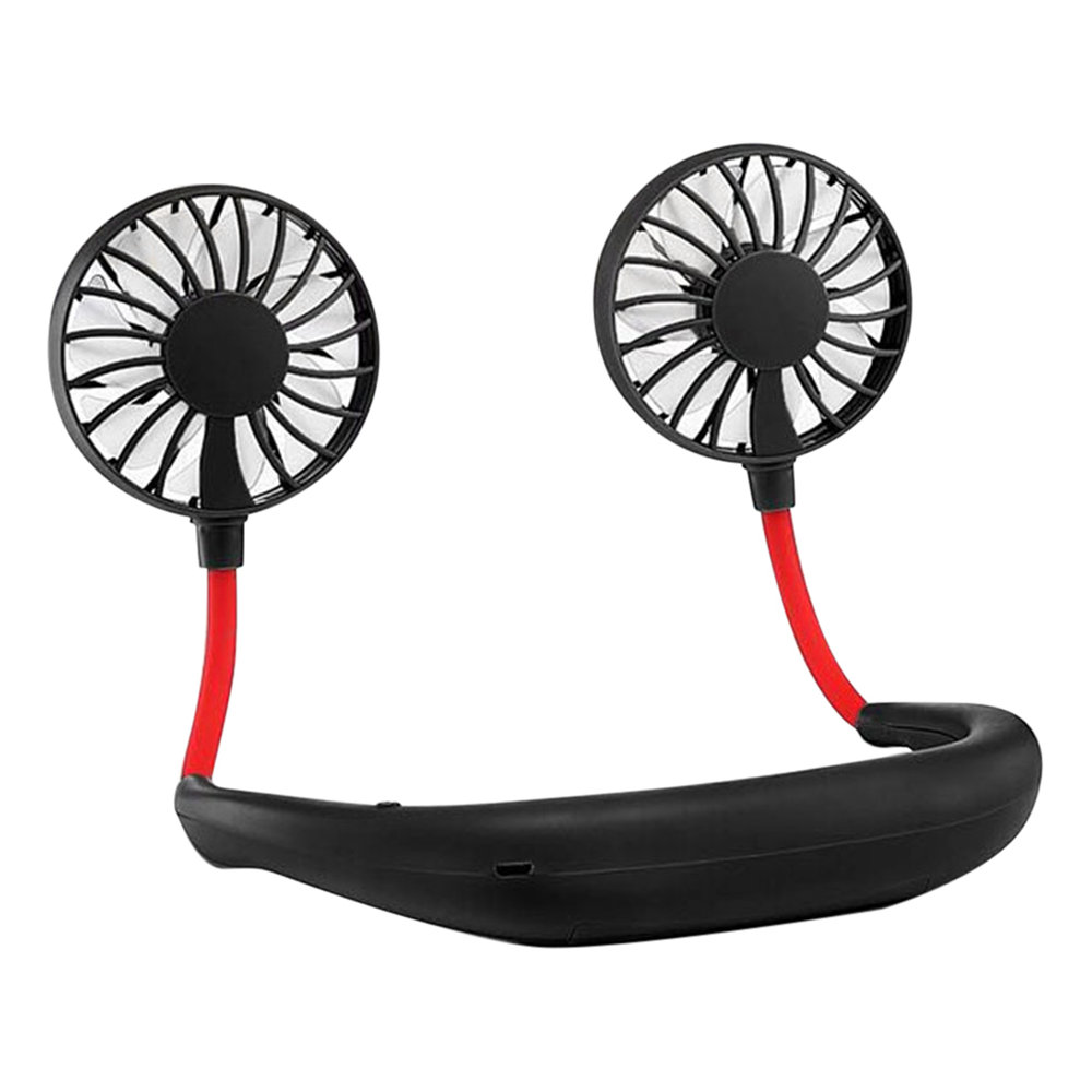 Mini Double Wind Head Neckband Fan with USB Rechargeable for Traveling Outdoor Office - Black