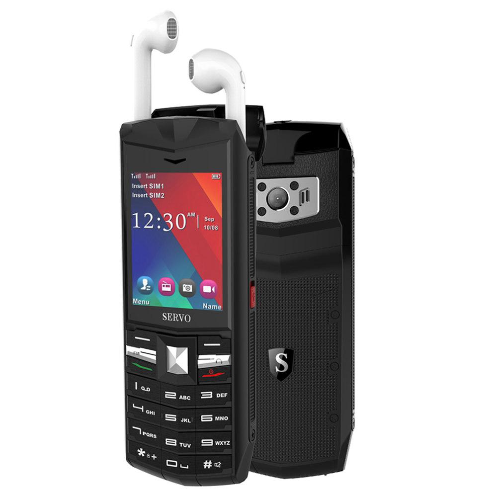 サーボR26 2.4インチ携帯電話TWS Bluetooth 5.0ワイヤレスヘッドフォン3000mAh GSM GPRS電話-ブラック