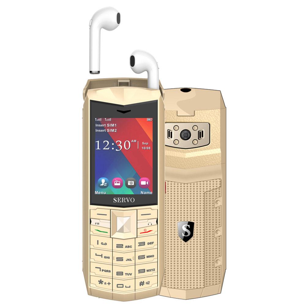 SERVO R26 2.4 Inch Mobile Phone with TWS Bluetooth 5.0 Wireless Headphone 3000mAh GSM GPRS Telephone - Gold фото