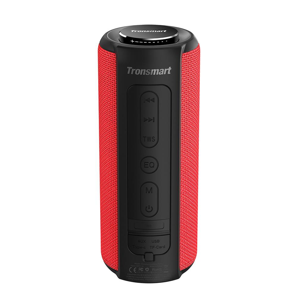 Tronsmart Element T6 Plus Portable Bluetooth 5.0 Speaker with 40W Max Output, Deep Bass, IPX6 Waterproof, TWS - Red
