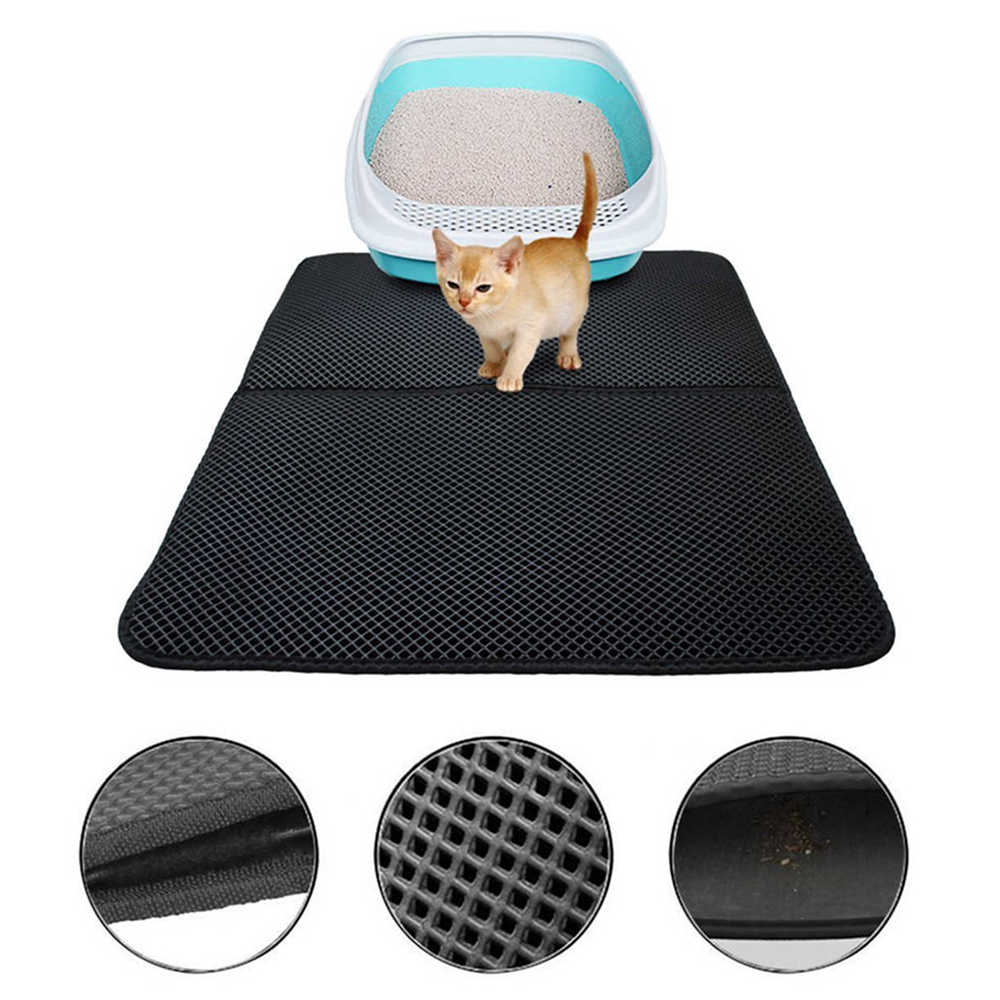 Pet Cat Litter Mat EVA Double Layer Dog Mat Almohadilla limpia 30 * 30cm - S