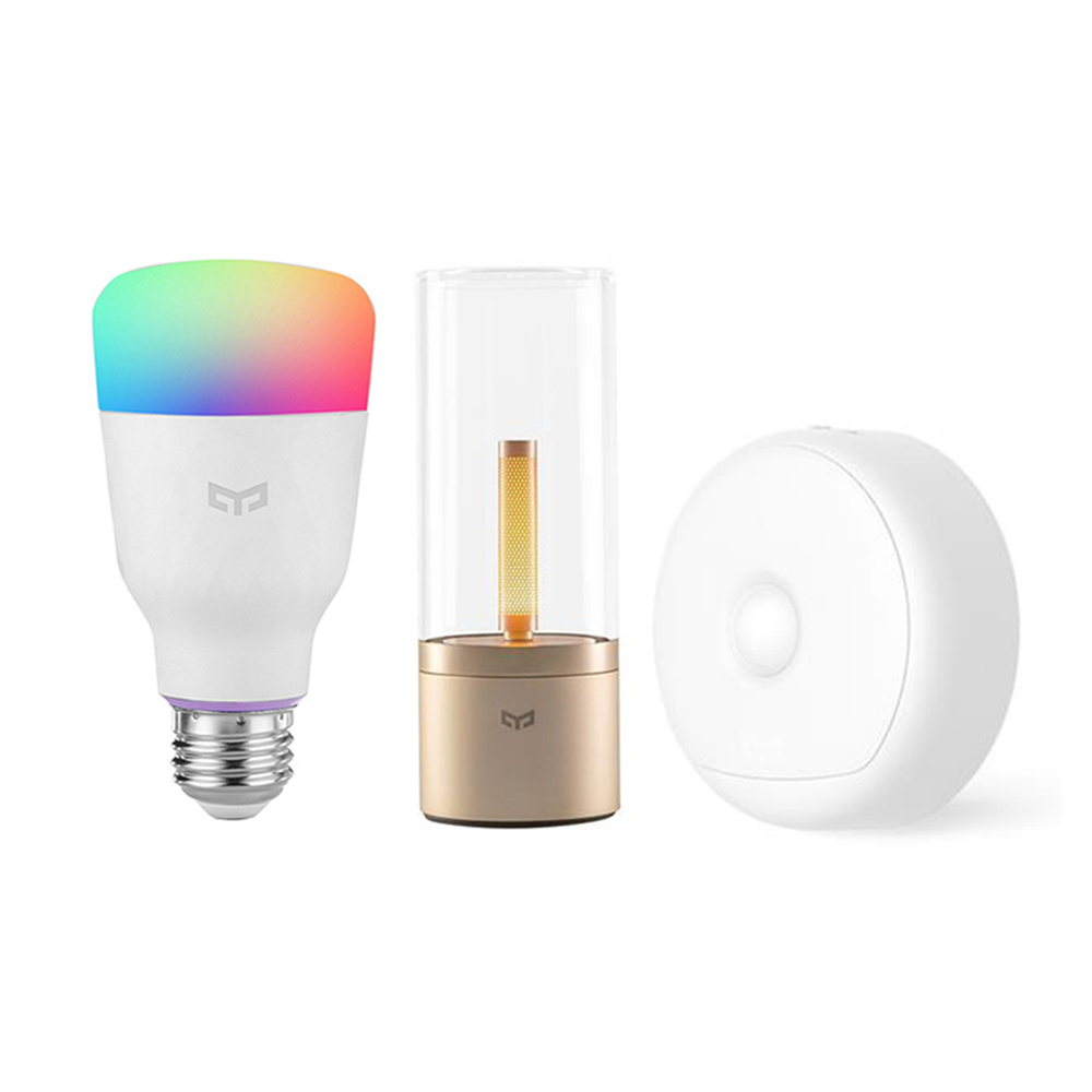 Xiaomi Yeelight Motion Sensor Night Light + Xiaomi Yeelight YLDP06YL Smart Light Bulb + Xiaomi Yeelight Smart Atmosphere Candela Light
