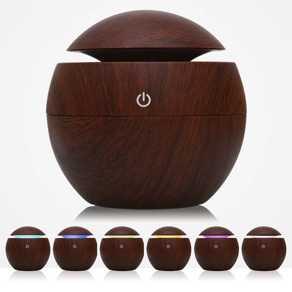 USB Aroma Essential Oil Diffuser מגניב לחות מרענן מטהר אוויר 7 צבעים LED מנורה עבור Office Home - בראון