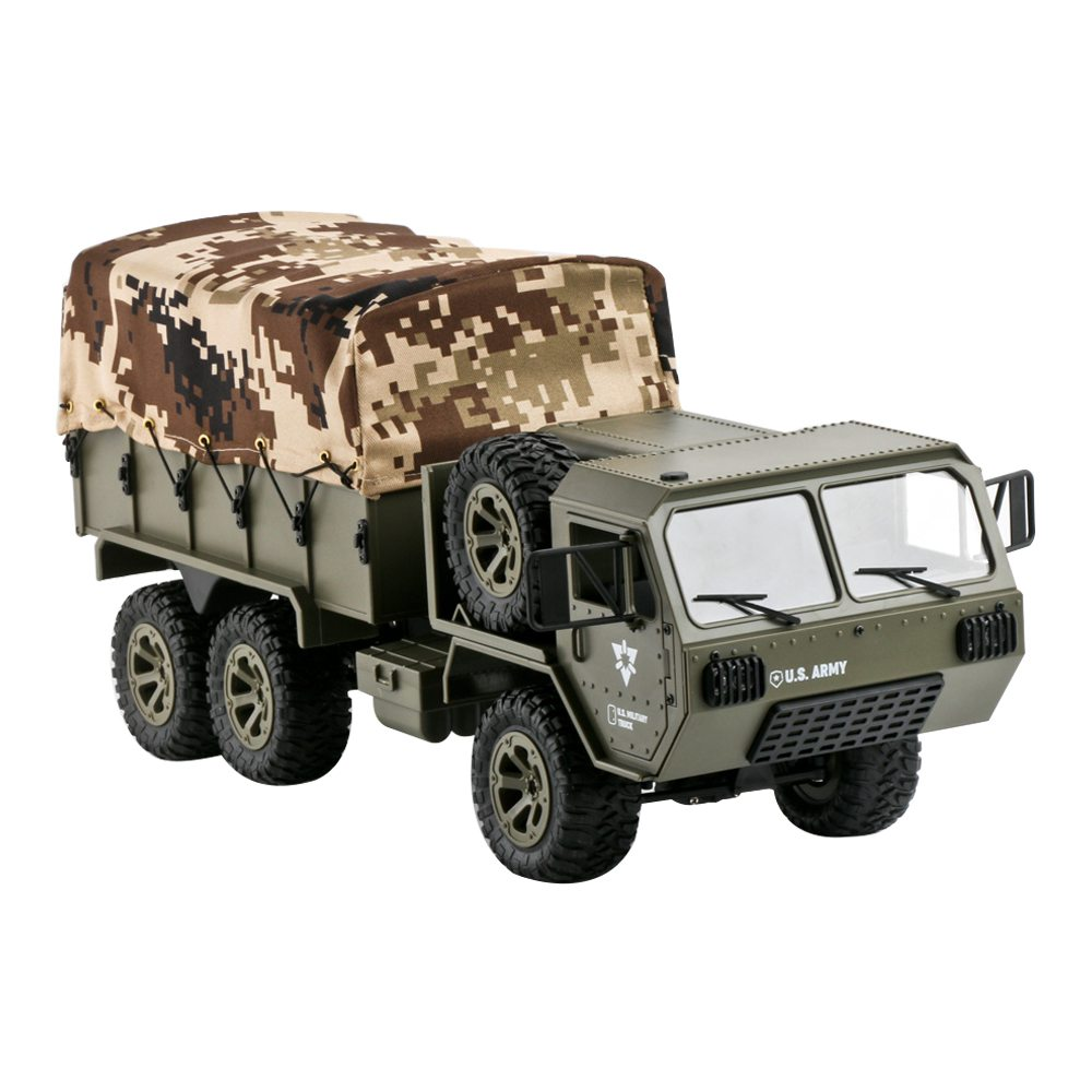 Fayee FY004A 2.4G 1/16 6WD Proportional Control US Army Military Truck RC Car With Canopy RTR - Army Green