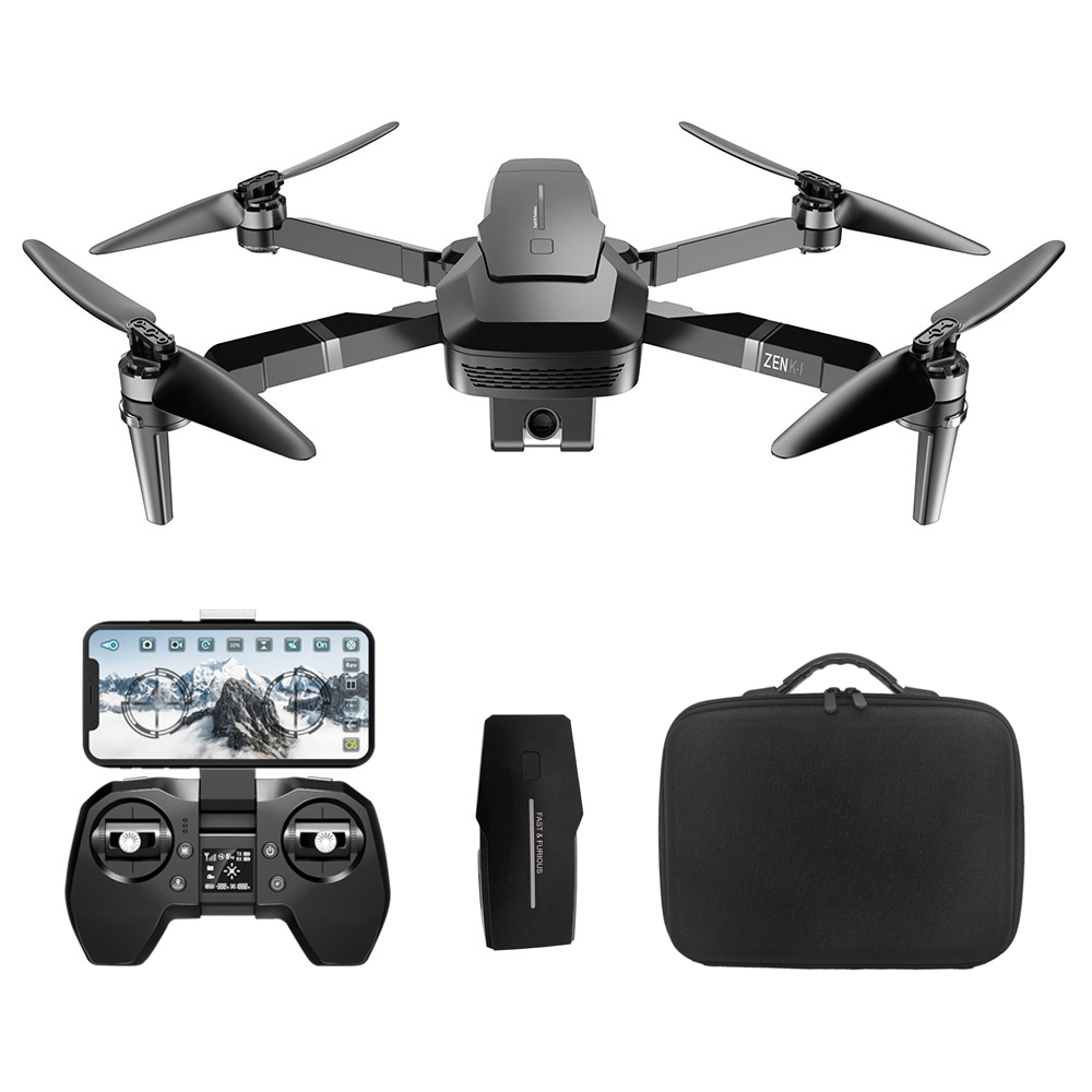 VISUO ZEN K1 4K UHD 5G WIFI FPV GPS Foldable RC Drone With Dual Camera Switchable 50X Zoom 30mins Flying Time - Two Batteries with Bag