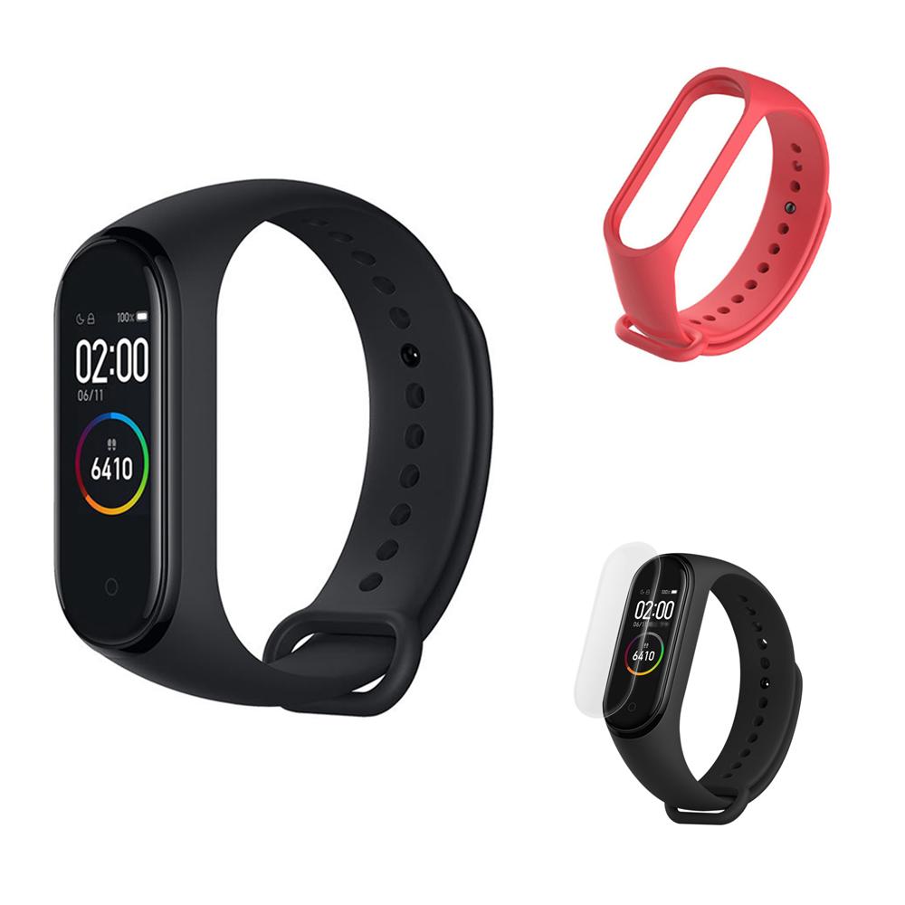 Xiaomi Mi Band 4 Smart Bracelet (Nero) + Strap di ricambio (rosso) + Pellicola protettiva (trasparente)