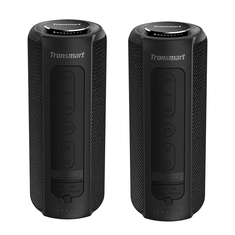 [2 Packs] Tronsmart Element T6 Plus Portable Bluetooth 5.0 Speaker with 40W Max Output, Deep Bass, IPX6 Waterproof, TWS - Black