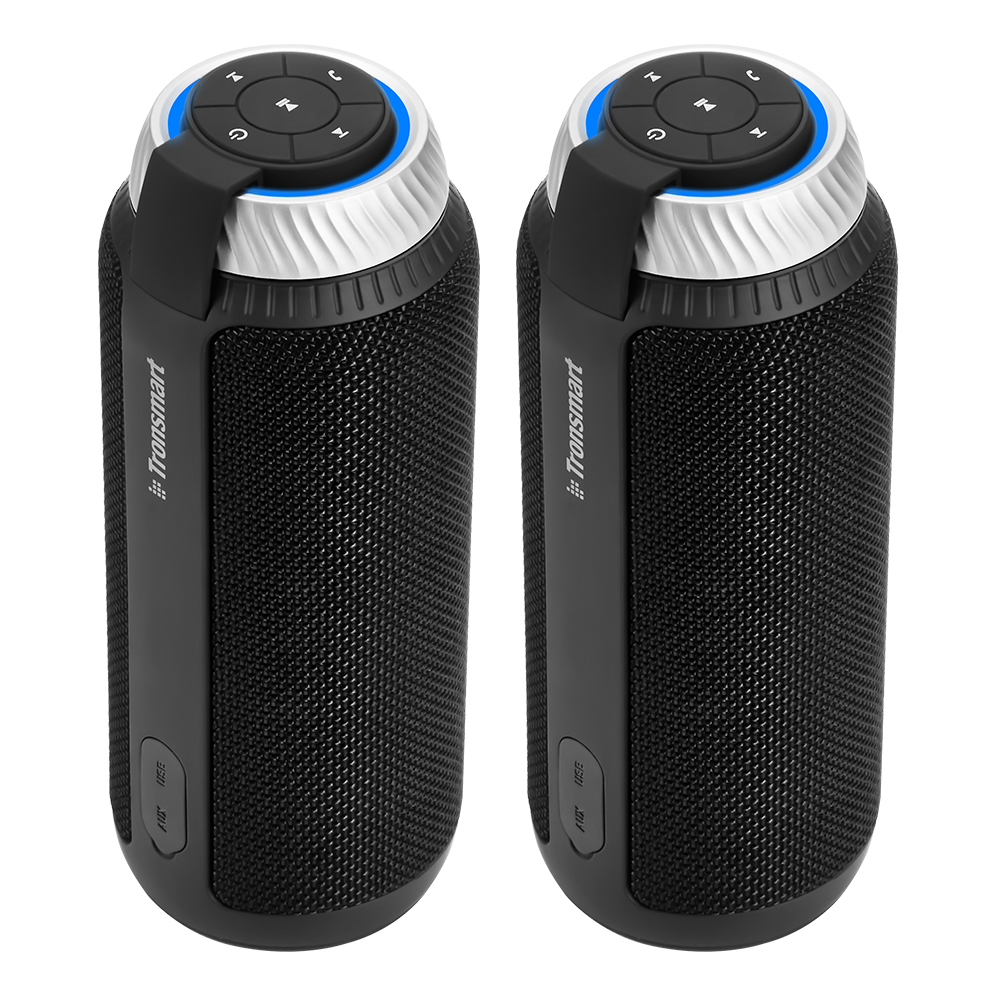[2 Packs] Tronsmart Element T6 25W Portable Bluetooth Speaker with 360 Degree Stereo Sound and Built-in Microphone - Black