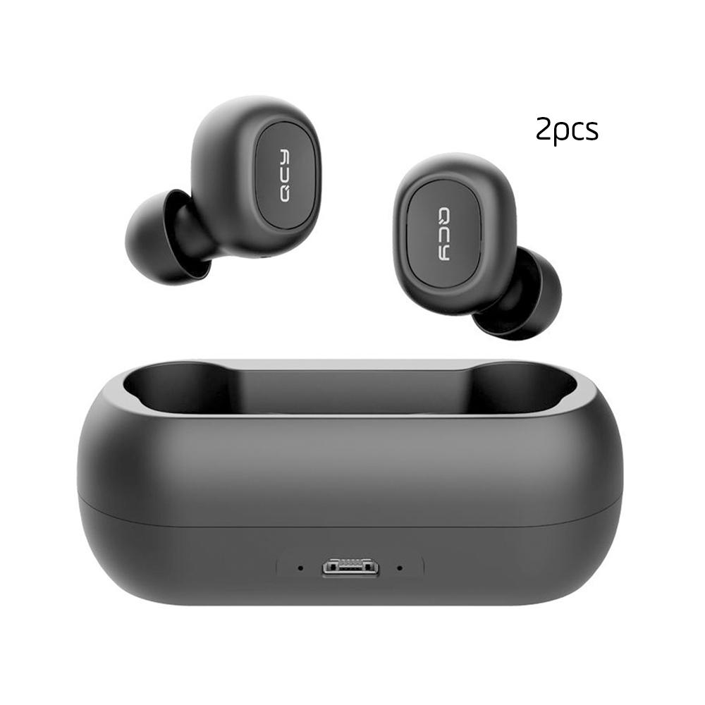 [2 Packs] QCY T1C TWS Dual Bluetooth 5.0 Auricolari con Riduzione del rumore di ricarica del microfono - Nero