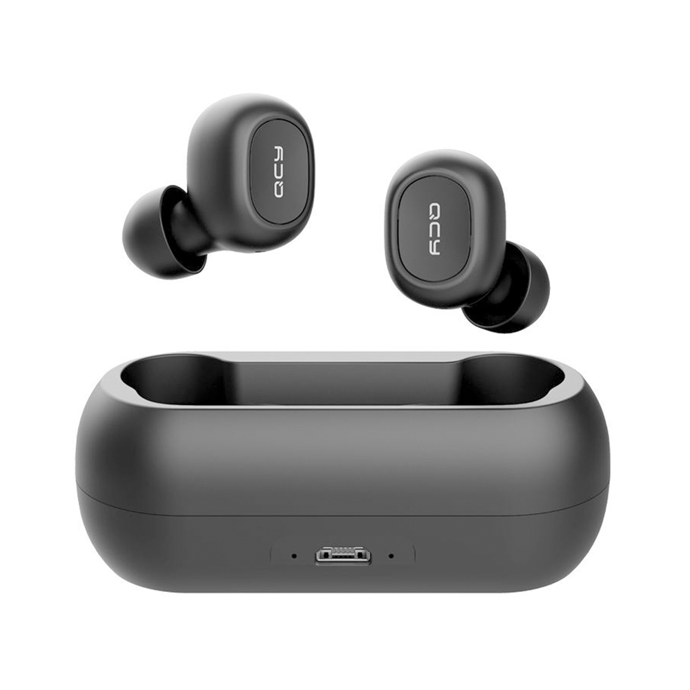 QCY T1C TWS Dual Bluetooth 5.0 Earphones with Mic Charging Box Noise Reduction - Black