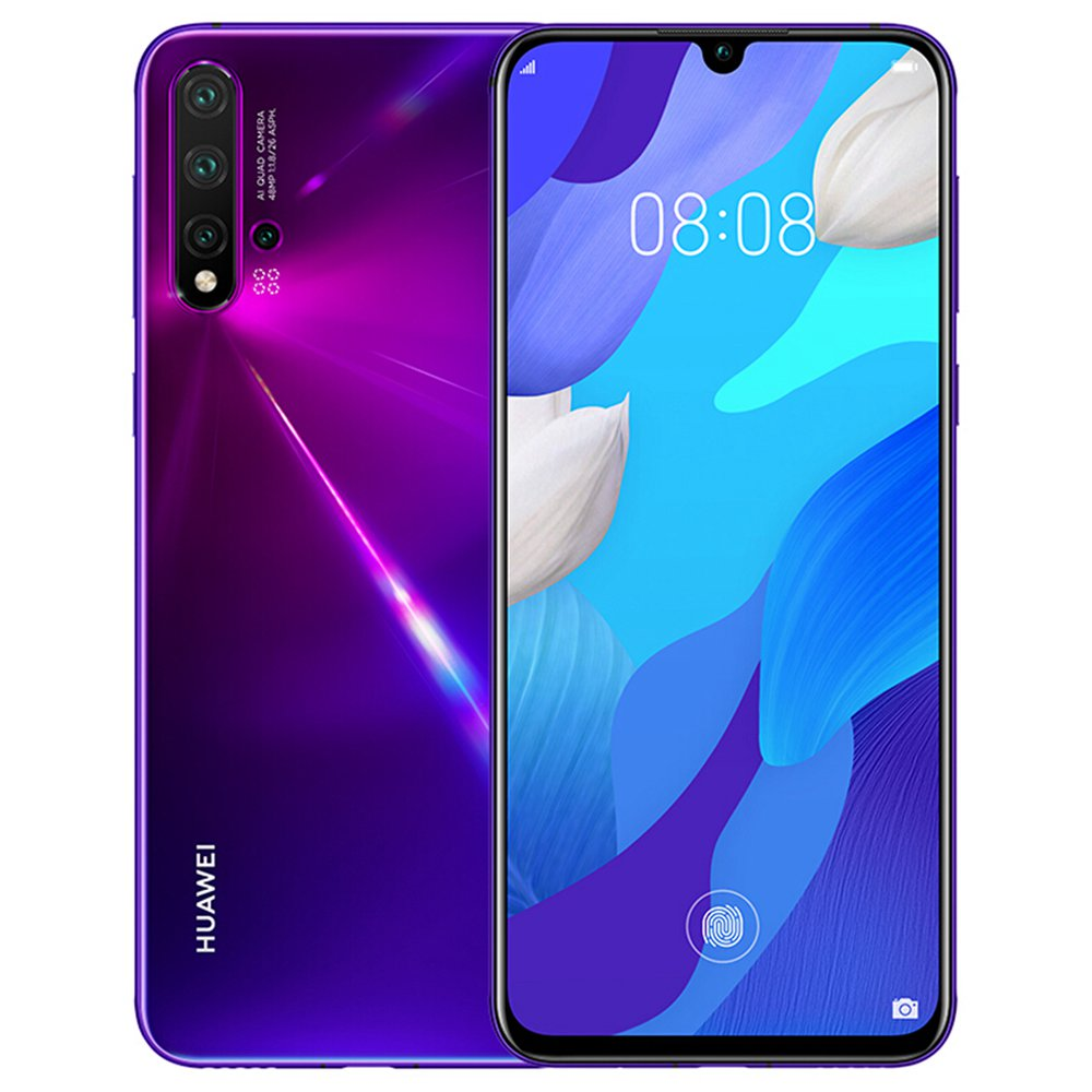 HUAWEI Nova 5 Pro CN 6.39 hüvelykes 4G LTE okostelefon Kirin 980 8GB 128 GB 48.0MP + 16.0MP + 2.0MP + 2.0MP Quad hátsó kamerák Android 9.0 képernyőn megjelenő ujjlenyomat gyors töltés - lila
