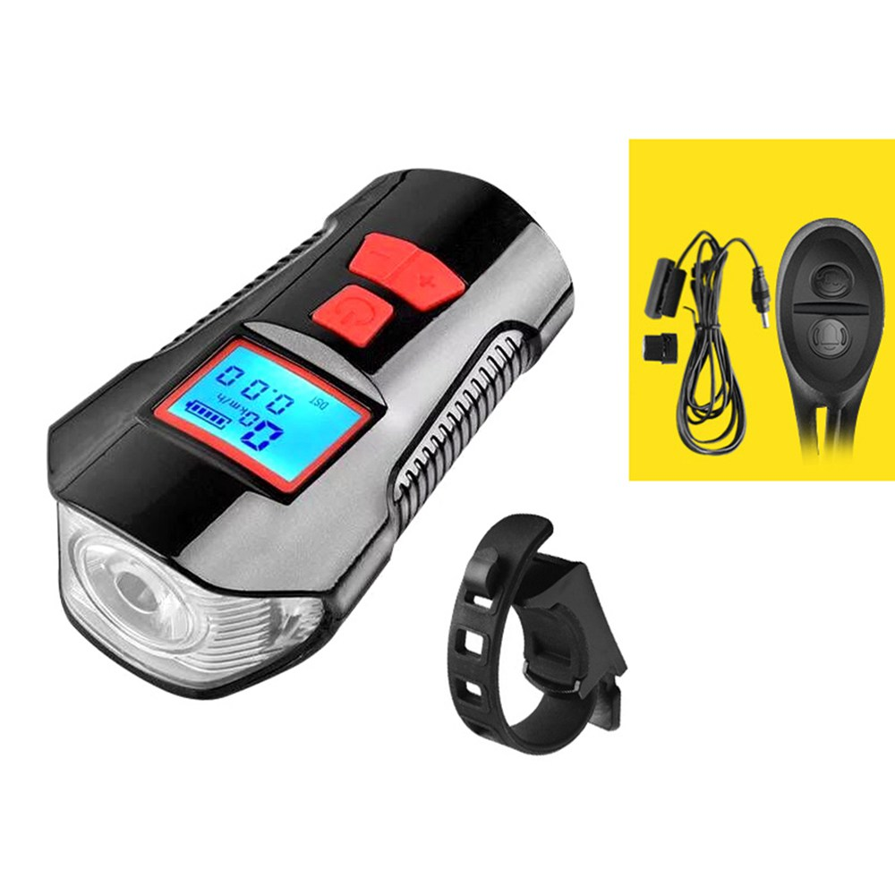 Waterproof Bicycle Light USB Charging With Horn LCD Screen Speed Meter Battery Status - Red