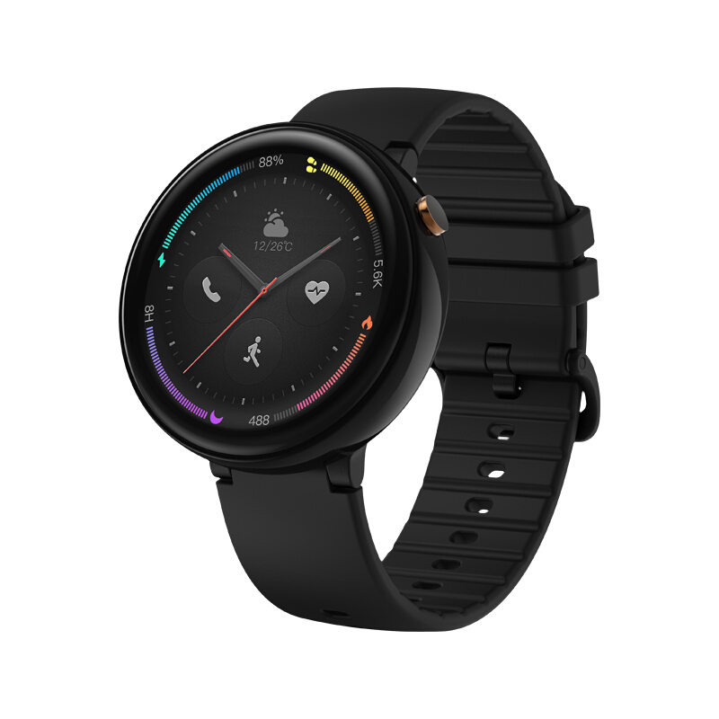 Original Xiaomi HUAMI AMAZFIT Verge 2 Smart Sports Watch 4G LTE 1.39 Inch AMOLED 2.5D Glass Screen IP68 Water Resistant GPS Ceramic Bezel - Black