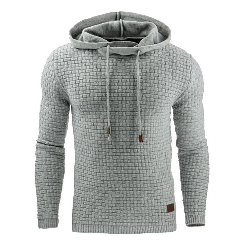 Men & # 39; s Winter Hoodie Warm Hooded Sweatshirt Coat Jacket Outwear Maglione Taglia 2XL - Grigio chiaro