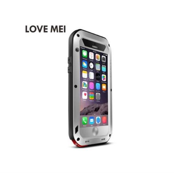 LOVE MEI Víz / szennyeződés / ütésálló fém és szilikon burkolat tok iPhone 6 Plus - ezüst