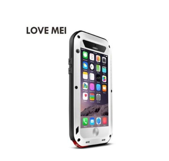 ÄLSKA MEI Vatten / smuts / stötsäker skyddsmetall och silikon skalfodral för iPhone 6 Plus - vit