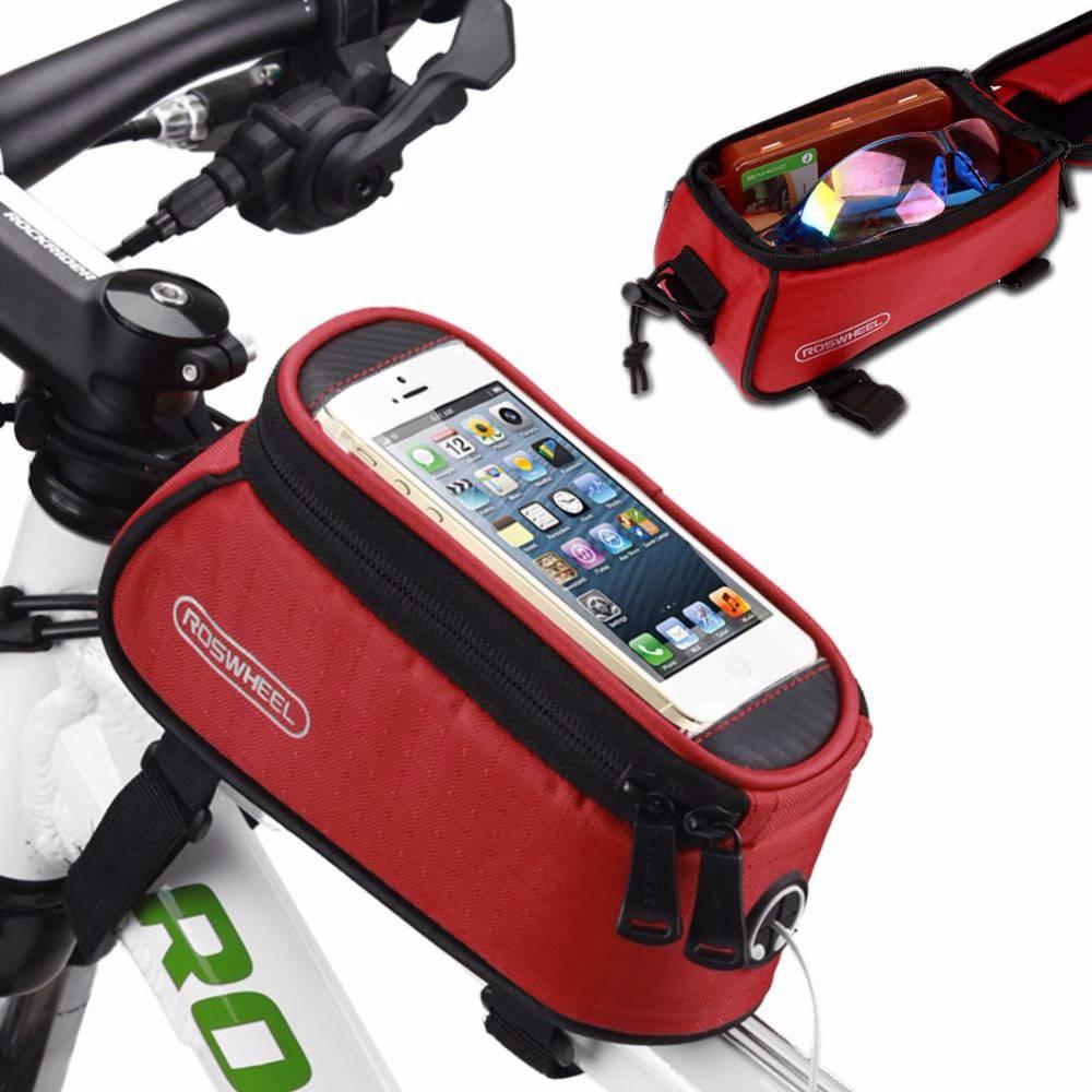 ROSWHEEL 12496自転車バッグ5.5インチアウトドアサイクリング防水自転車フレームポーチフロントチューブバッグ - レッド
