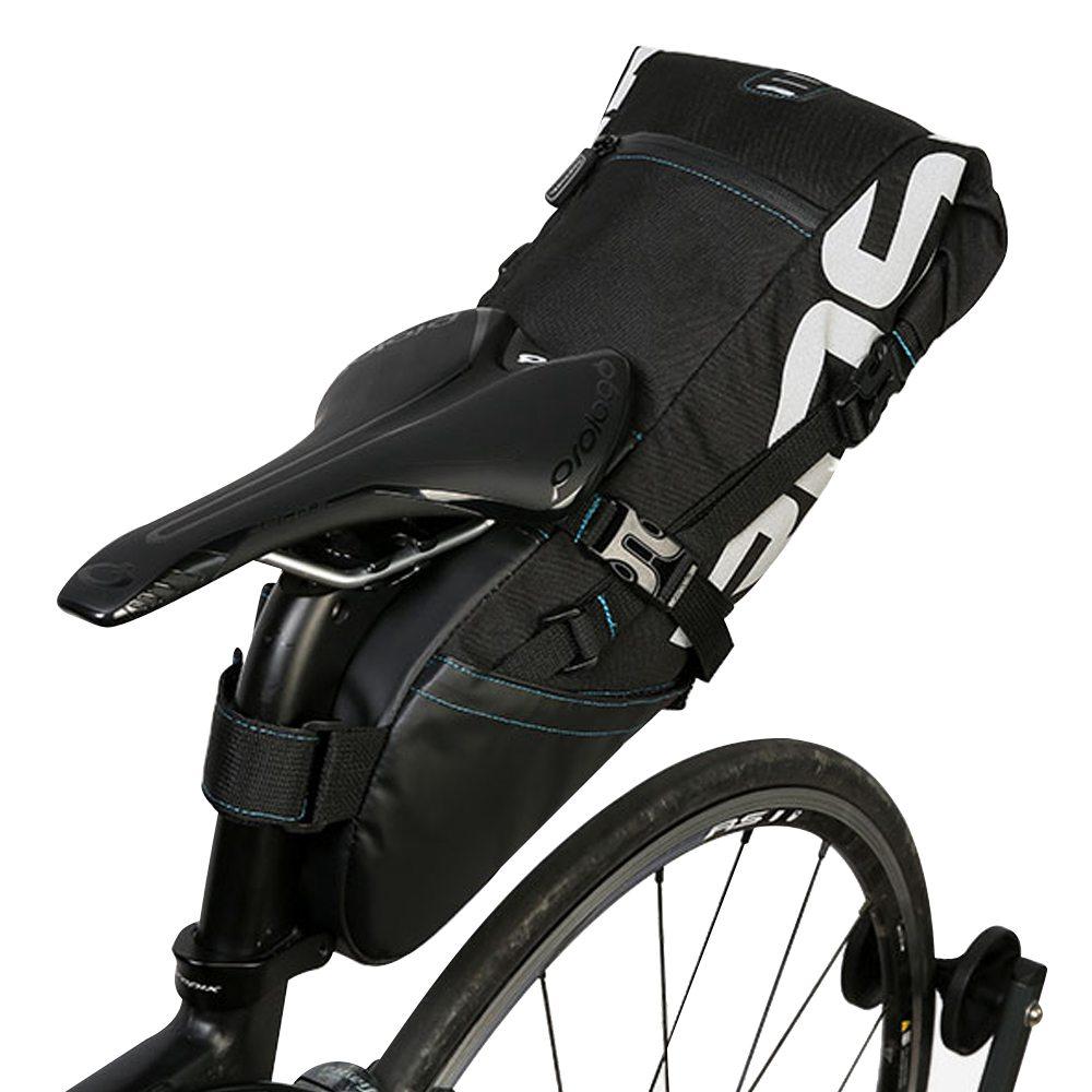 ROSWHEEL 131414-A自転車用シートポストバッグ8Lサイクリングリアパックタイト伸縮バッグ - ブラック
