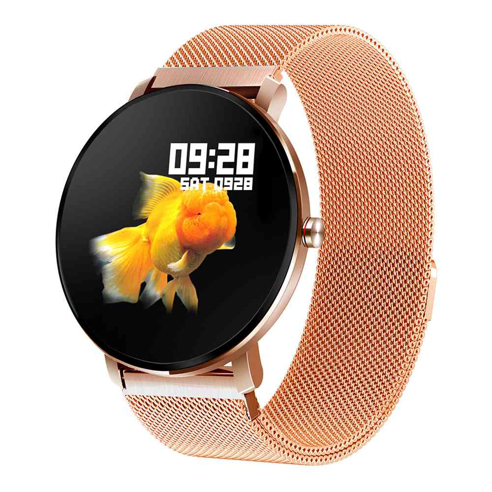Makibes K9 Smartwatch Blood Oxygen Monitor 1.3 Inch IPS Screen IP68 Heart Rate Fitness Tracker - Gold