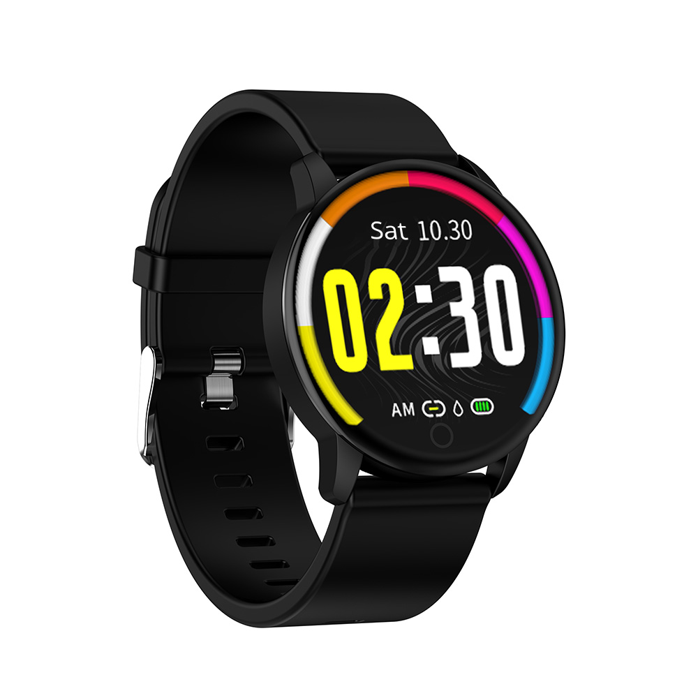Makibes Q20 Smartwatch Monitor de Pressão Arterial 1.22 Inch IPS Screen IP67 Water Resistant Monitor de Freqüência Cardíaca Sleep Bag Silicon Strap - Preto